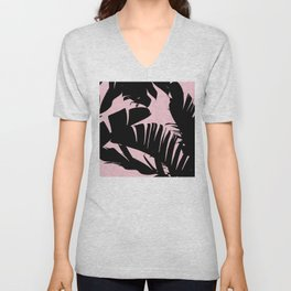 Unique Black and Pink Tropical Banana Leaves Pattern Unisex V-Neck