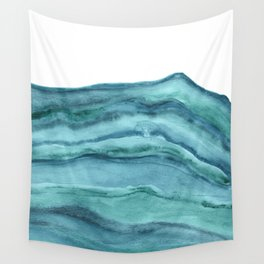 Watercolor Agate - Teal Blue Wall Tapestry
