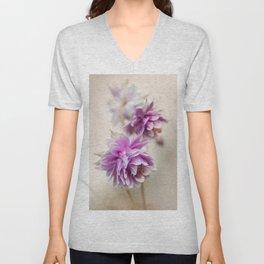 Violet columbines Unisex V-Neck