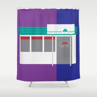 kansas city Shower Curtains featuring Kansas City Food - BBQ by greetingsfromKC