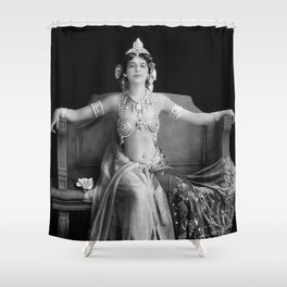 Mata Hari, Famous French Dancer and Femme fatale black and white photograph / black and white photography Shower Curtain