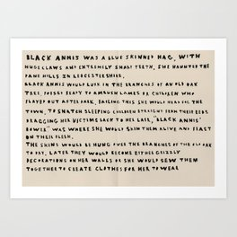 The Myth Of Black Annis  Art Print