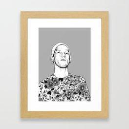 Joshua Dun in flowers Framed Art Print