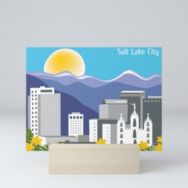 Salt Lake City, Utah - Skyline Illustration by Loose Petals Mini Art Print