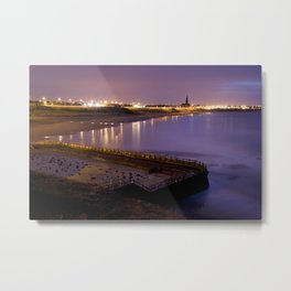 Old bathing pool, Long Sands beach and St Georges Church at twilight. Tynemouth, Northumberland, UK Metal Print