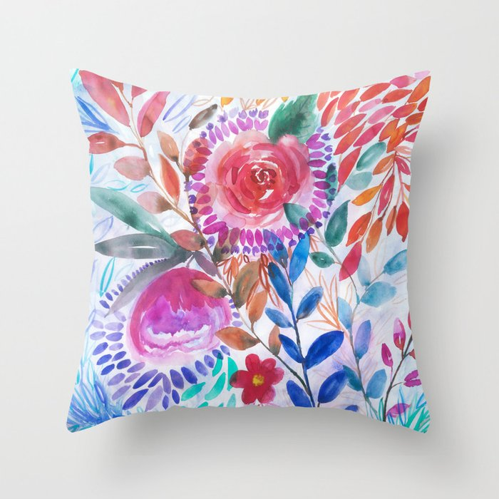 Floral Movement Throw Pillow