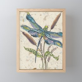 """""""""""Dragonflies and Cattails"""" Framed Mini Art Print"""