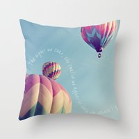 nietzsche Throw Pillows featuring the higher we soar by shannonblue