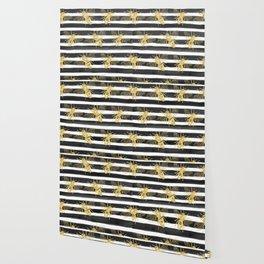 Golden bee noir Wallpaper