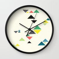 triangles Wall Clocks featuring Triangles by Cassia Beck