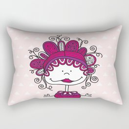Doodle Doll with Curls on Pink Background Rectangular Pillow