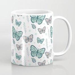 Decorative pattern with butterflies and plants Coffee Mug