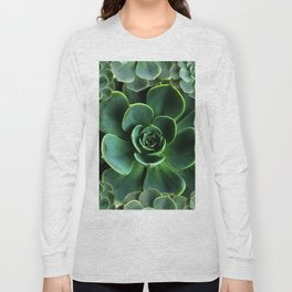 JADE GREEN SUCCULENT ROSETTES DESIGN Long Sleeve T-shirt