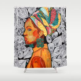 Portrait of a woman Jackie with multicolored headwrap Shower Curtain