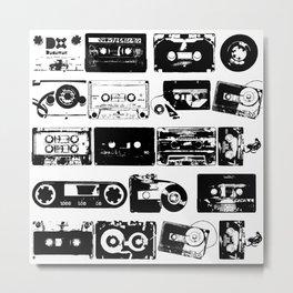 Audio tapes vintage Black and white Metal Print