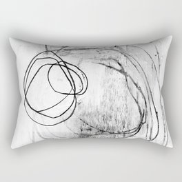 Black and White Textured Scribble Abstract Painting Rectangular Pillow