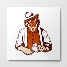 Tiger Poker Face Metal Print