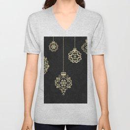Decorative Rose Gold Geometry On Black Damask Unisex V-Neck