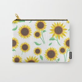 Sunny Sunflowers on White Carry-All Pouch
