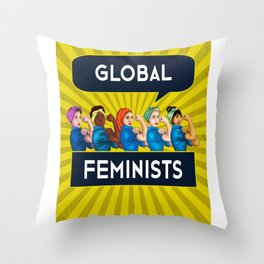Global Feminists Women Girls design Rosie Riveter Design Throw Pillow