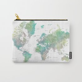 Watercolor world map in muted green and brown Carry-All Pouch