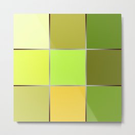 The bright green patchwork Metal Print