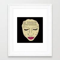 bjork Framed Art Prints featuring BJORK by Casey Sullivan