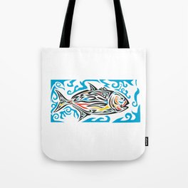 Giant Trevally Side Tribal Art Tote Bag
