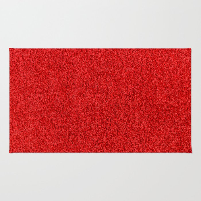 Rose Red Shag pile carpet pattern Rug