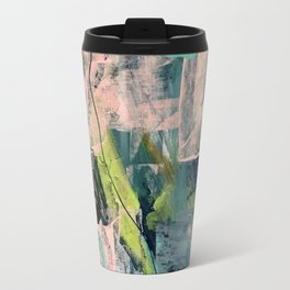 Connect [4] : a vibrant acrylic abstract in neon green, blues, pinks, & hints of orange Travel Mug