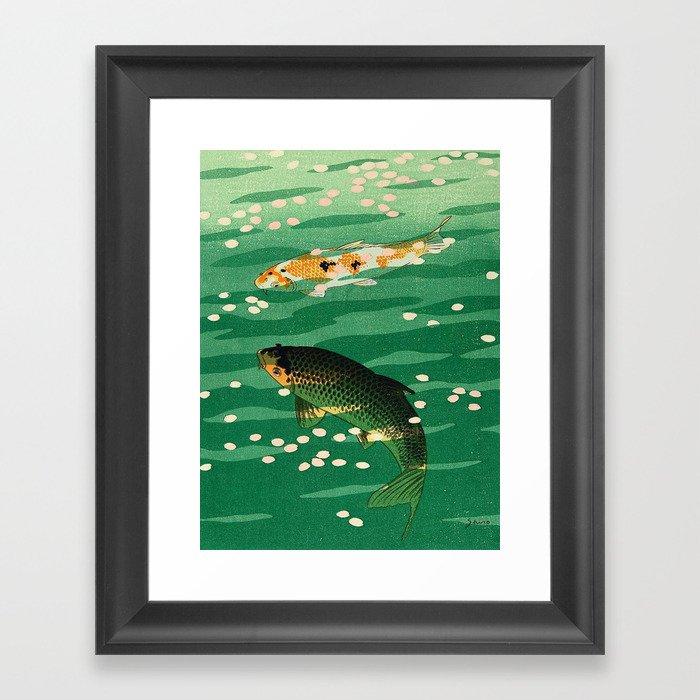 Vintage Japanese Woodblock Print Asian Art Koi Pond Fish Turquoise Green Water Cherry Blossom Gerahmter Kunstdruck