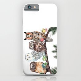 Tea owls , funny owl tea time painting by Holly Simental iPhone Case