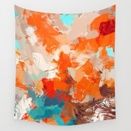 Pleasure, Abstract Brush Strokes Summer Painting, Pop of Color Bright Wall Tapestry