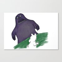 moomin Canvas Prints featuring Moomin and the Groke by Bensanne