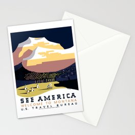 Vintage See America - Montana Travel Stationery Cards