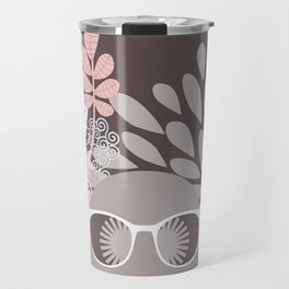 Afro Diva : Sophisticated Lady Pale Pink Peach Beige Travel Mug