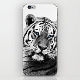 Black and white fractal tiger iPhone Skin