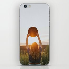 Girl With A Hat At Sunset iPhone Skin