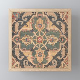 Geometric Leaves VI // 18th Century Distressed Red Blue Green Colorful Ornate Accent Rug Pattern Framed Mini Art Print