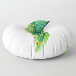 Geometric colorful figure art of peacock in polygonal style on white background Floor Pillow