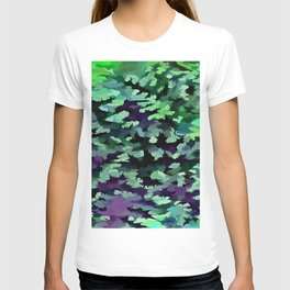 Foliage Abstract Pop Art In Jade Green and Purple T-shirt