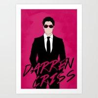 darren criss Art Prints featuring Pink Darren Criss by byebyesally