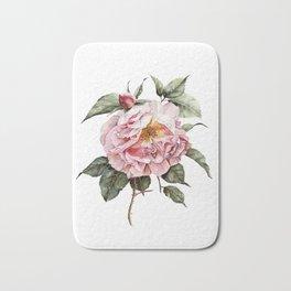 Wilting Pink Rose Watercolor Bath Mat