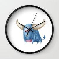 bull Wall Clocks featuring Bull by Kristijan D.