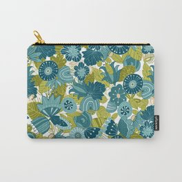 Whimsical Blue and Green Floral Carry-All Pouch