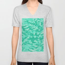 Foliage Abstract  Pop Art Aqua Unisex V-Neck