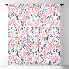 Wistful Floral - Coral and blue Blackout Curtain