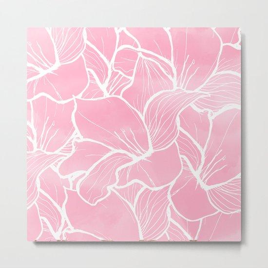 Modern white hand drawn abstrat floral pastel pink watercolor Metal Print