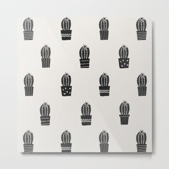 Stamped Potted Cacti Metal Print