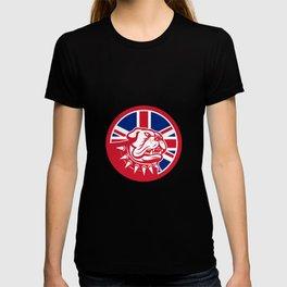 British Bulldog Head Union Jack Flag Icon T-shirt